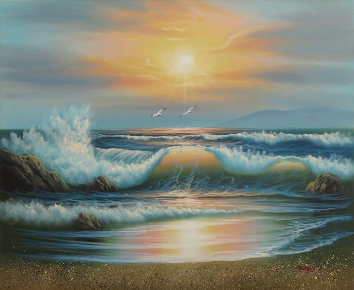 特価油絵 海辺 A110
