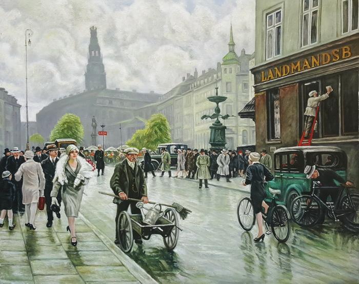 油絵 Paul Gustave Fischer_ コペンハーゲンの街角
