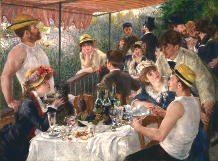 油絵 ルノワールの名作_舟遊びの人々の昼食