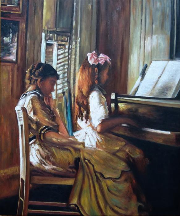 油絵 DeCamp Josephの名作_ピアノレッスン
