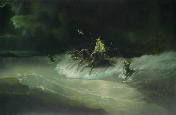 名画 絵画 油絵 新色 アイヴァゾフスキーの名作 イワン 開催中 ポセイドンの波上行進