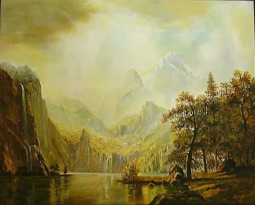 名画 絵画 油絵 お気にいる 保証 ヨセミテ渓谷 ビアスタッドの名作