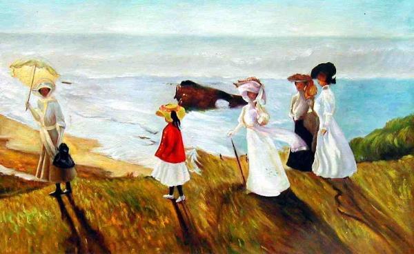 油絵 Bastidaの名作「海辺の散歩」