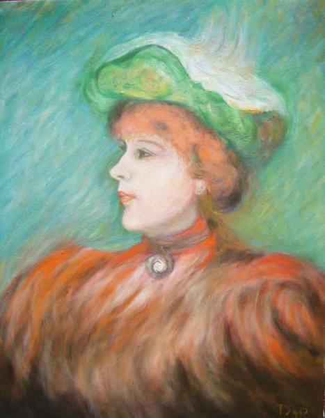 油絵 ルノワールの名作 「D嬢の肖像」