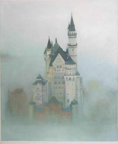 油絵 霧のノイシュバンシュタイン城