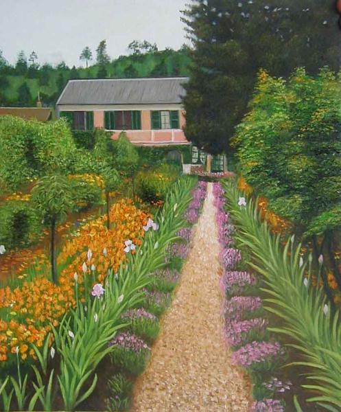超激安 絵画 無料サンプルOK 特価油絵 モネの家の庭