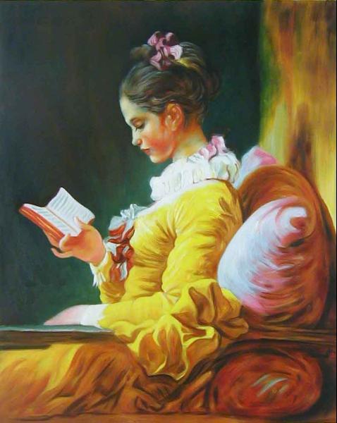 油絵 フラゴナールの名作「読書する娘」