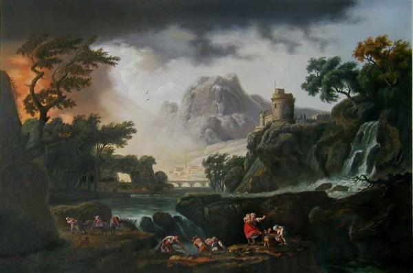 名画 絵画 100%品質保証 新作多数 特価油絵 ジョセフ クロード ヴェルネの名作_嵐が近づく山の風景