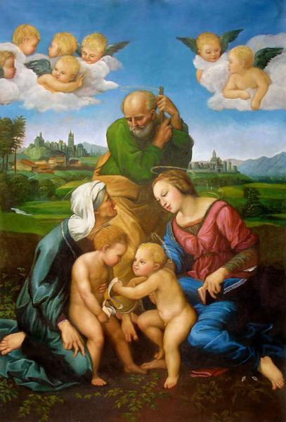 結婚祝い 名画 絵画 特価油絵 買い取り ラファエロの名作 カニジャーニの聖家族