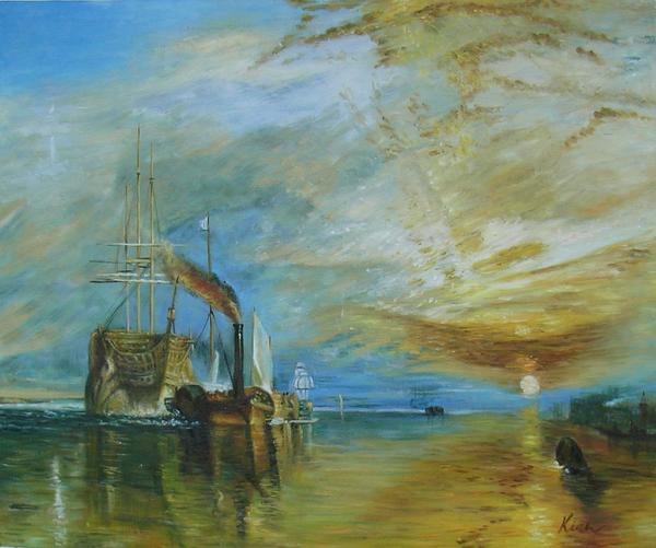 油絵 ターナーの名作_戦艦テメレール号