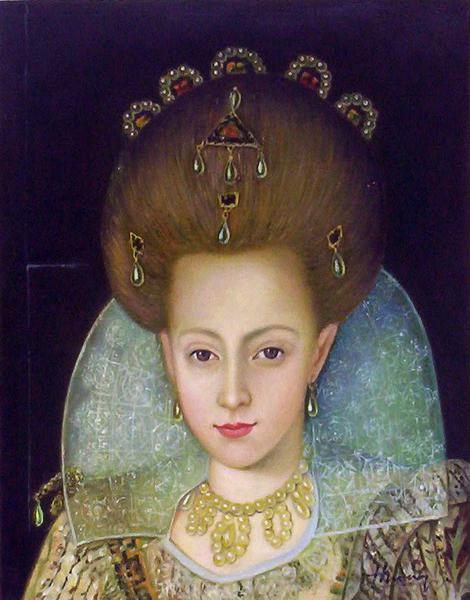 油絵 Robert Peake the Elderの名作「エリザベス王女」部分