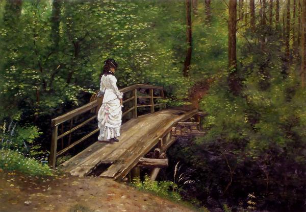 名画 絵画 レーピンの名作_橋の上の白いドレスの婦人 送料無料激安祭 油絵 保障