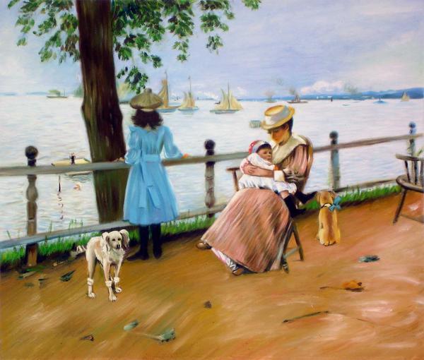 油絵 特価 William Merritt Chaseの名作_海を望む公園でのひと時