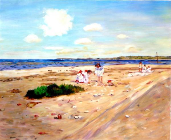 特価油絵 William Merritt Chaseの名作_シネコックの貝殻ビーチ