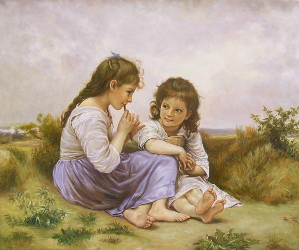 特価油絵 ブーグローの名作「少女の秘め事」