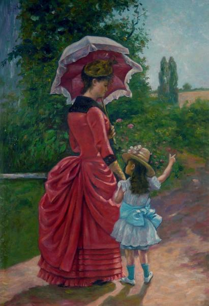 特価油絵 Charles Cresの名作「母と娘」