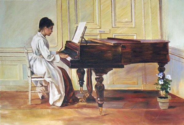 油絵 Theodore Robinsonの名作_ピアノを弾く女性