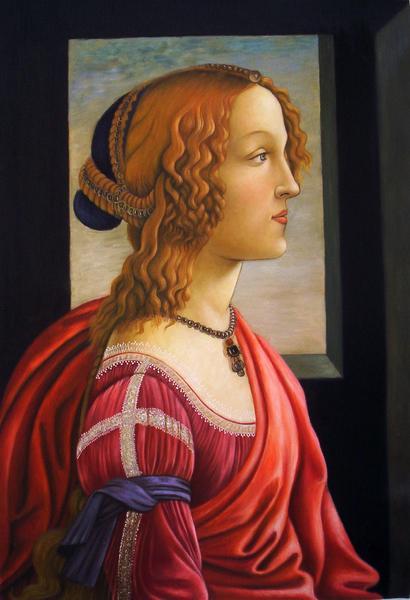 油絵 ボッティチェリの名作「若い婦人の肖像(シモネッタ・ヴェスプッチの肖像」