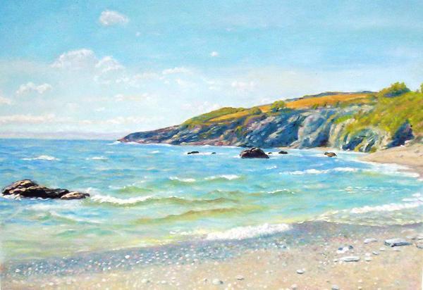 名画 定番 絵画 油絵 Hughesの名作_イギリス コーンウォールの海岸 ストアー Arthur