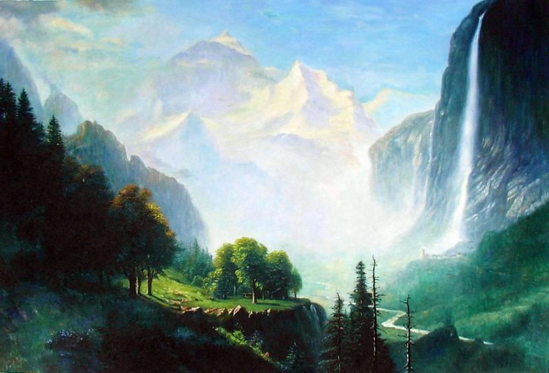 直営店 誕生日プレゼント 名画 絵画 特価油絵 ビアスタッドの名作 シュタウプバハの滝