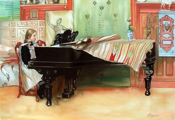 特価油絵 Larsson Carlの名作「ピアノレッスン」