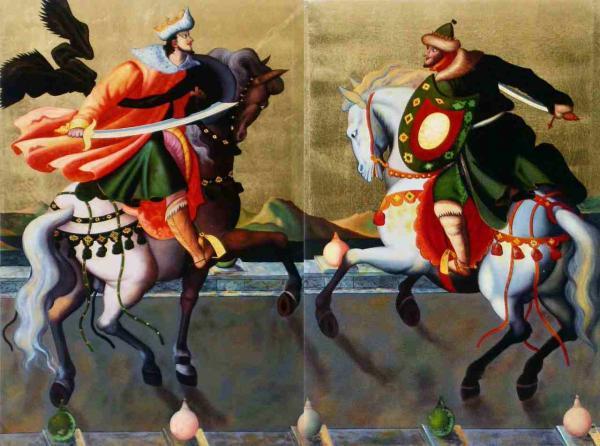 名画 絵画 漆  漆絵 泰西王侯騎馬図