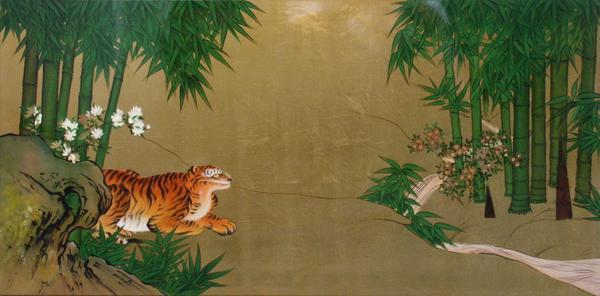 名画 絵画 漆  漆絵 狩野探幽の名作「竹虎図」