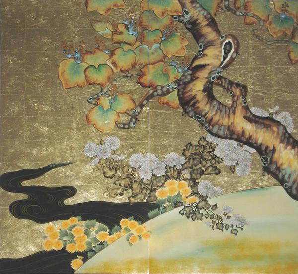 漆絵 酒井抱一の名作「桐菊流水図」