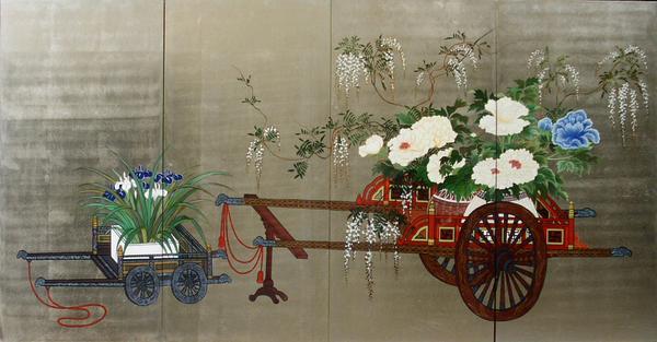 漆絵 花車図 3