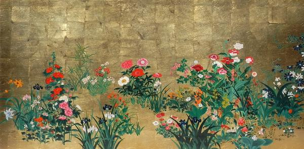 名画 絵画 漆  特価漆絵 山本宗川の名作_百花図