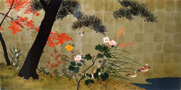 漆絵 横山清暉の名作「四季花鳥図」
