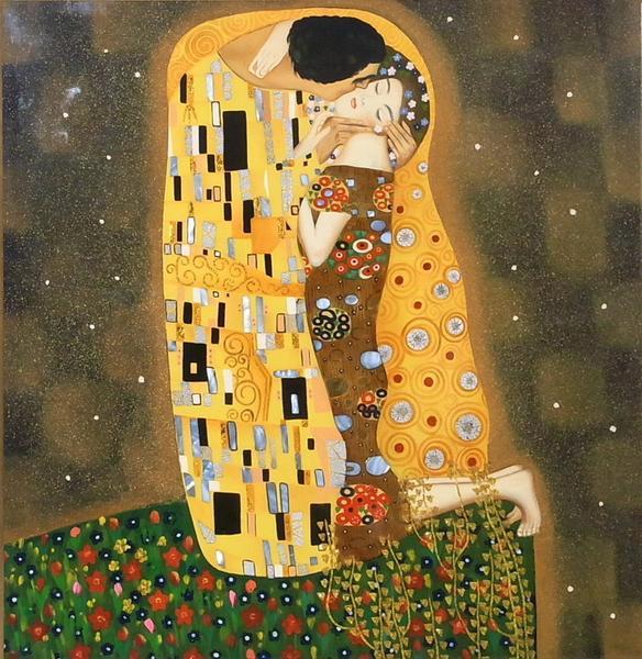 漆絵 クリムトの名作「接吻」