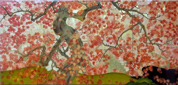 名画 絵画 漆  漆絵 吉野龍田図左隻「錦しゅうの紅葉に染まる秋の龍田川」