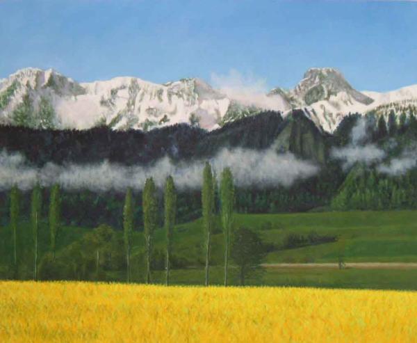 油絵 雪山遠景