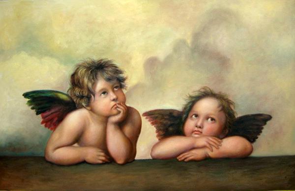 名画 絵画 宗教画 油絵 の部分絵 シストの聖母 世界の人気ブランド ラファエロの名作 見つめる二人のエンジェル ご予約品