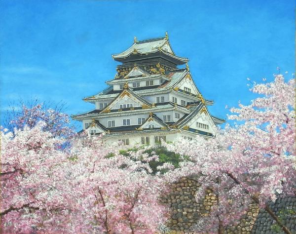 絵画 油絵 無料サンプルOK 低価格化 大阪城と桜