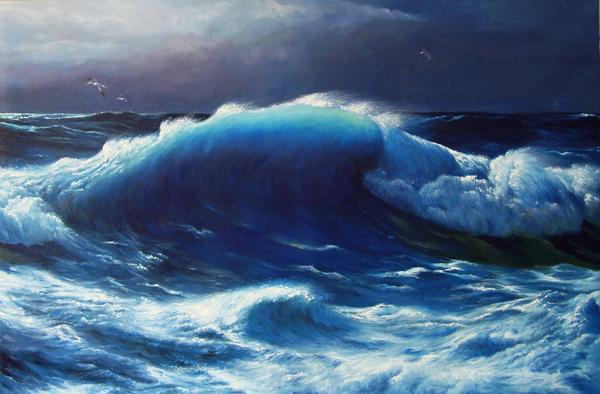 特価油絵 James Davidの名作_大西洋のうねり