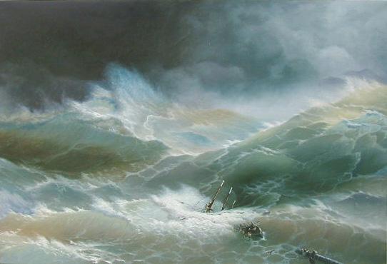 油絵 イワン・アイヴァゾフスキーの名作「嵐の航海」