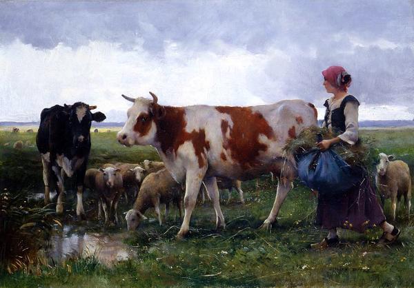 名画 絵画 大幅値下げランキング 2020新作 Dupreの名作_放牧場の女 油絵