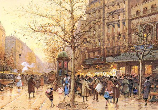 名画 テレビで話題 絵画 油絵 入荷予定 Eugene Galien-Laloue_パリの街角