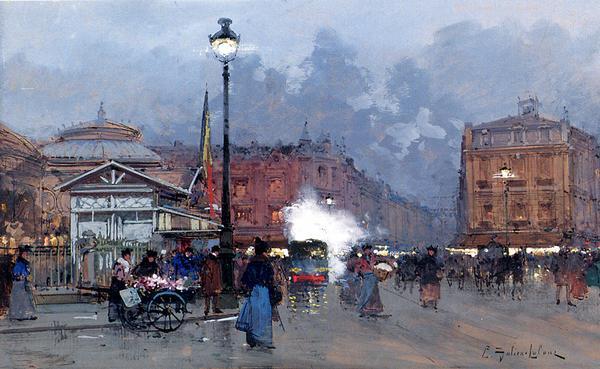 名画 絵画 セールSALE%OFF 油絵 Galien-Laloue_パリの街角 Eugene 全品送料無料