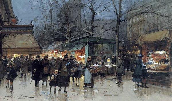 名画 絵画 即出荷 油絵 定番 Eugene Galien-Laloue_パリの街角