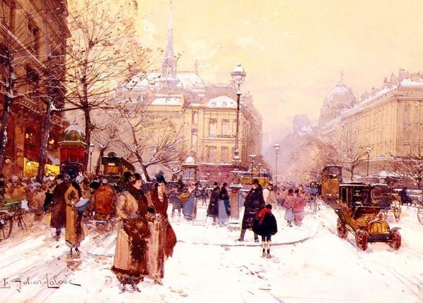 名画 絵画 通常便なら送料無料 お得 油絵 Galien-Laloue_パリの冬 Eugene