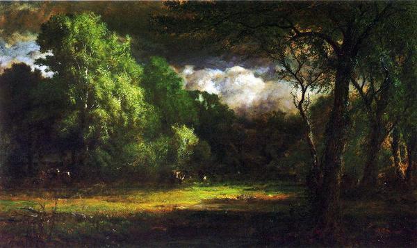 名画 絵画 油絵 セール価格 George Inness_マサチューセッツの森 即出荷