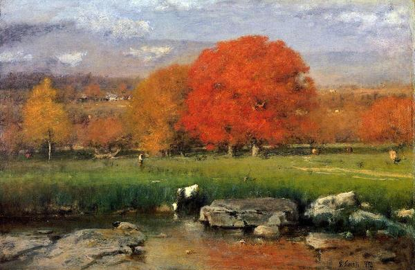 名画 人気の定番 国内正規品 絵画 油絵 George Inness_紅葉の大木