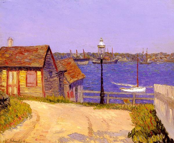 油絵 Glackens Williamの名作_ 海辺の風景