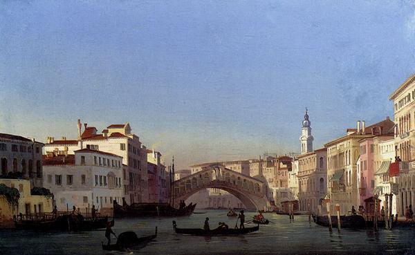 油絵 Ippolito Caffi_ベニスのリアルト橋