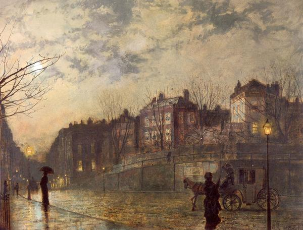 【正規品】 油絵 John Atkinson Grimshawの名作 油絵 Atkinson_ Grimshawの名作_ ハムステッド, かごしまけん:40e51289 --- ironaddicts.in