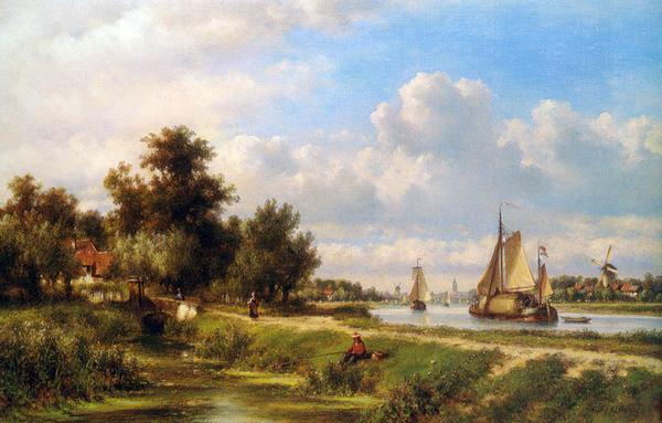 油絵 Kleijn Lodewijk Johannes_引き船道