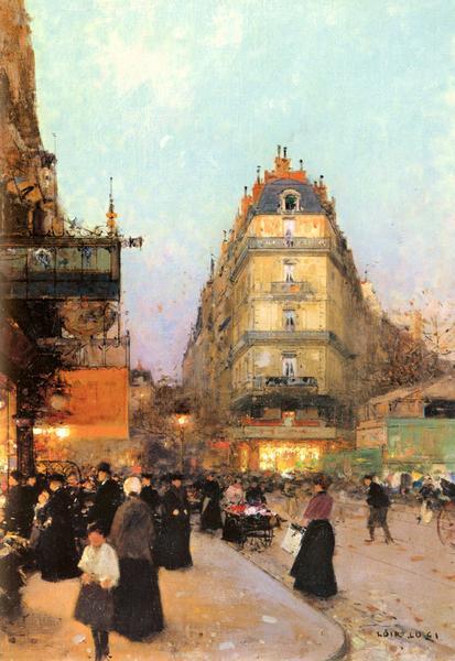 名画 絵画 油絵 至高 ハイクオリティ Luigi_パリの街角 Loir